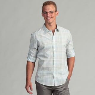 Calvin Klein Men's Rolled Sage Plaid Shirt FINAL SALE