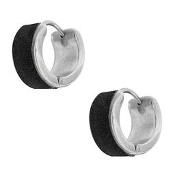 Moise Stainless Steel Black Mini-hoop Earrings