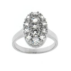 Rhodium-plated Brass Clear Cubic Zirconia Oval Ring