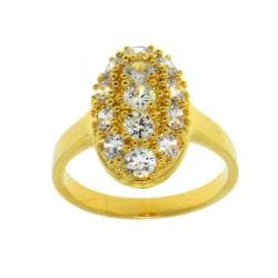 14k Goldplated Clear Cubic Zirconia Oval Ring