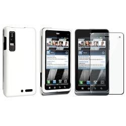 White Rubber Coated Case/ Screen Protector for Motorola Droid 3