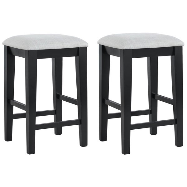 Black Grain and Grey Fabric 24-in Barstools (Set of 2)