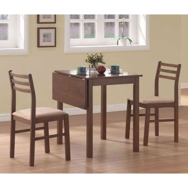Walnut 3 Piece Solid Top Drop Leaf Dinette Set 13923898 Overstock