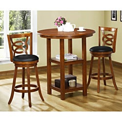 Dark Oak Solid Wood 24-in Swivel Barstools (Set of 2)