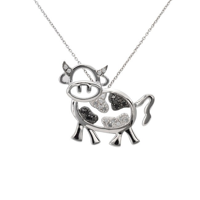 Sterling Silver 1/4ct TDW Black and White Diamond Cow Necklace (J-K, I3)