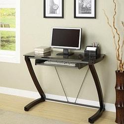 Cappuccino Solid Bentwood/ Gunmetal Computer Desk