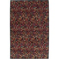 Nepalese Hand-Knotted Black Bottle Caps Wool Rug (5 x 7)