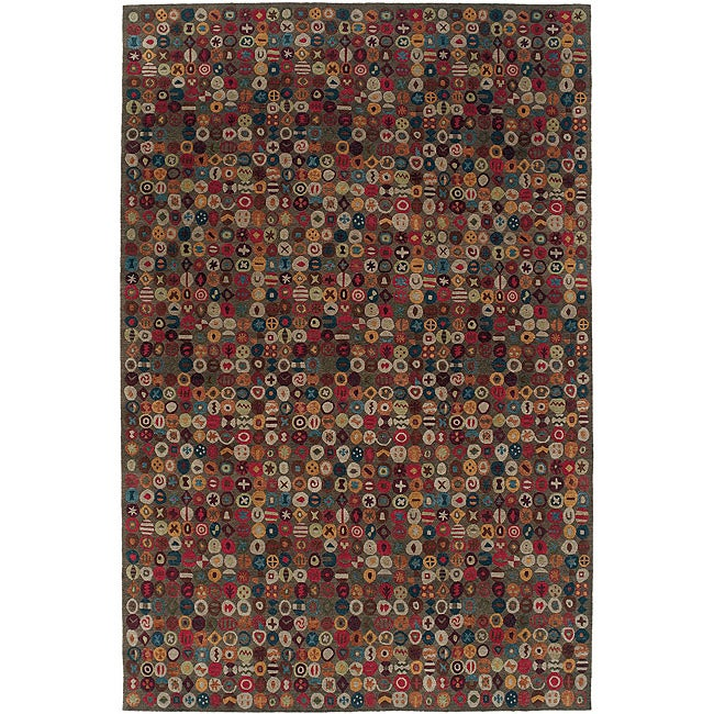 Nepalese Hand-Knotted Bottle Caps Wool Rug (6 x 9)