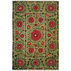 Nepalese Hand-Knotted Green Poppies Wool Rug (2'6 x 10)