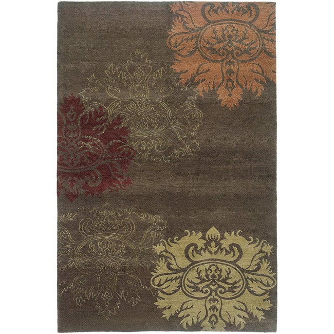 Nepalese Hand-Knotted Brown/ Gold Lotus Wool Rug (3 x 5)