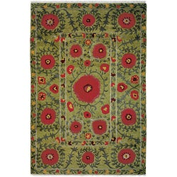 Nepalese Hand-Knotted Green Poppies Wool Rug (4 x 6)