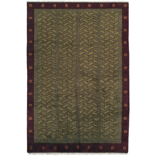 Nepalese Hand-Knotted Green Kelp Wool Rug (3 x 5)