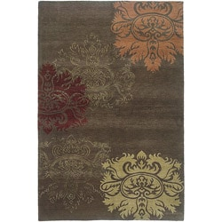 Nepalese Hand-Knotted Brown and Gold Lotus Wool Rug (6 x 9)