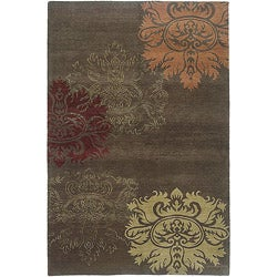 Nepalese Hand-Knotted Brown and Gold Lotus Wool Rug (5 x 7)