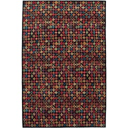 Nepalese Hand-Knitted Black Bottle Caps Wool Rug (2'6 x 10)
