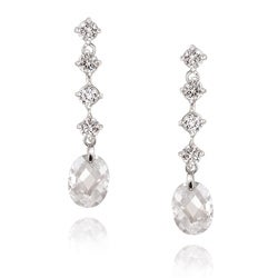 Icz Stonez Sterling Silver Cubic Zirconia Briolette-Cut Linear Dangle Earrings