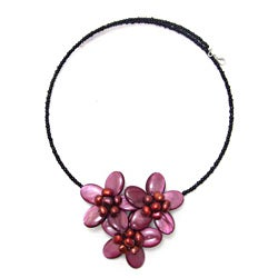 Maroon Shell and Pearl Flower Bouquet Necklace (6-7 mm)(Thailand)
