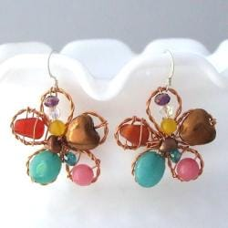 Sterling Silver Chalcedony and Pearl Floral Earrings (Thailand)