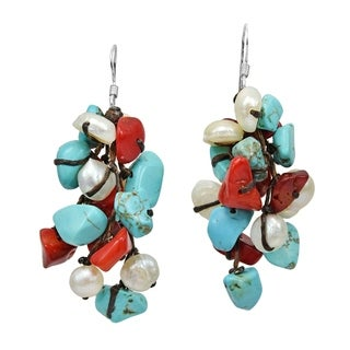 Silver Turquoise, Coral and Pearl Cluster Earrings (Thailand)