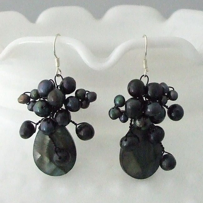 Sterling Silver Black Mother of Pearl and Pearl Teardrop Earrings (Thailand)
