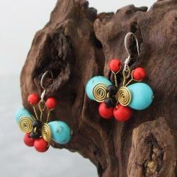 Sterling Silver Coral, Onyx and Turquoise Butterfly Earrings (Thailand)