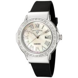 Swiss Legend Women's 'South Beach' Black Silicone Diamond Watch