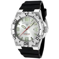 Swiss Legend Men's 'Expedition' Silver Dial Black Silicon Watch