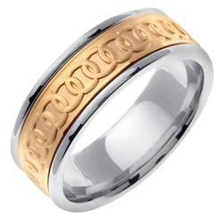 14k Two-tone Gold Men's Celtic Circle Wedding Band