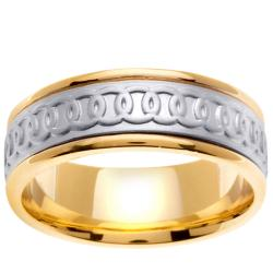 14k Two-tone Gold Men's Celtic Circle Design Wedding Band