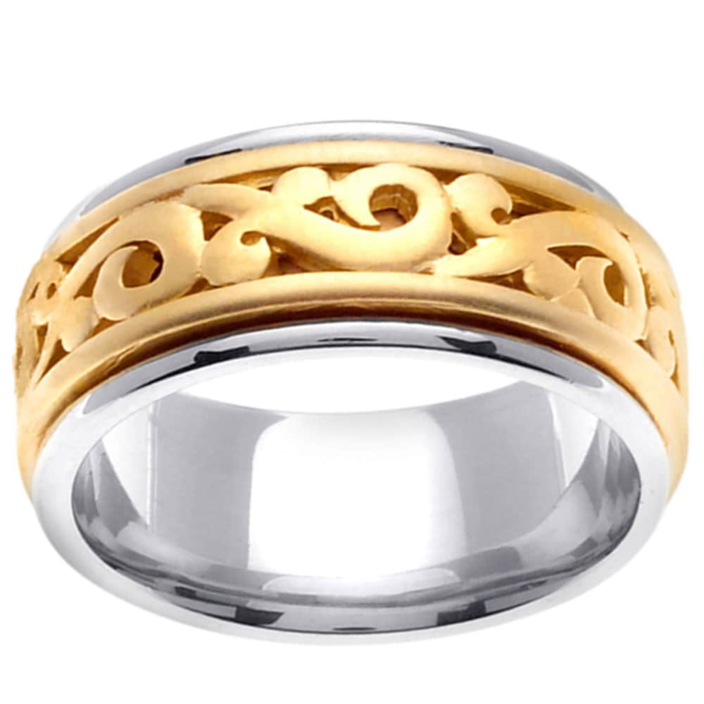 14k Two-tone Gold Men's Celtic Scroll Design Wedding Band