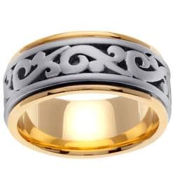 14k Two-tone Gold Men's Celtic Scroll Wedding Band