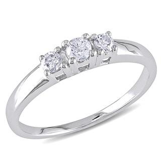 Miadora 14kt White Gold 1/4ct TDW Round Diamond Three-Stone Ring (J-K/ I2-I3)
