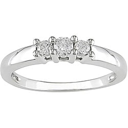Miadora 14kt White Gold 1/4ct TDW Round Diamond Three-Stone Ring (J-K/ I2-I3)