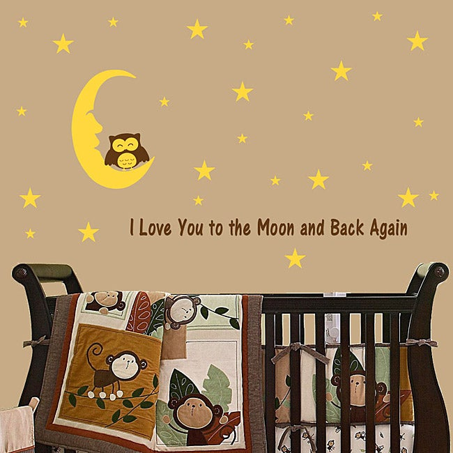 vinyl 39 i love you to the moon and back again 39 wall decal. Black Bedroom Furniture Sets. Home Design Ideas