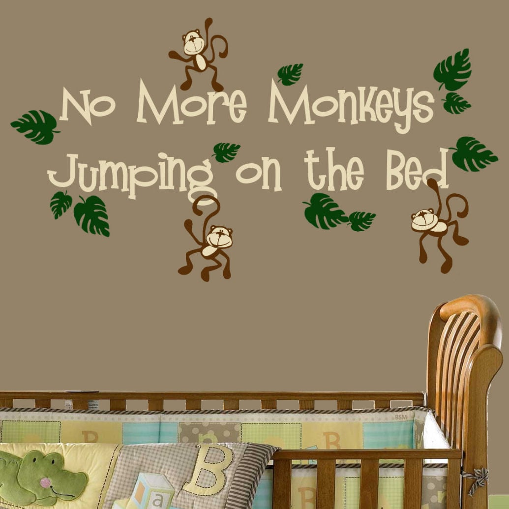 Vinyl 39no more monkeys jumping on the bed39 wall decal for Best 20 no more monkeys jumping on the bed wall decal