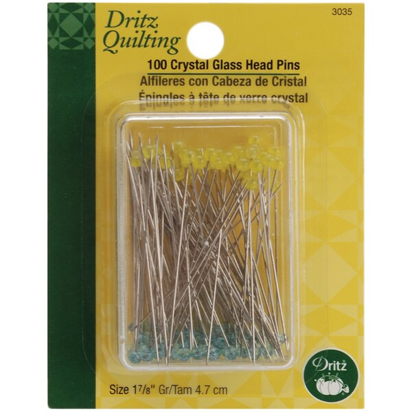 Dritz Quilting Crystal Glass Head Pins (Case of 100)