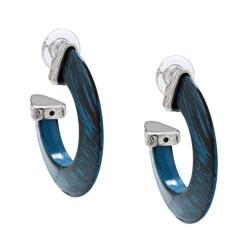 Alexa Starr Silvertone Teal Lucite Hoop Earrings