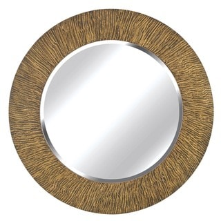 Benton 33-in Round Striated Black and Tan Wall Mirror