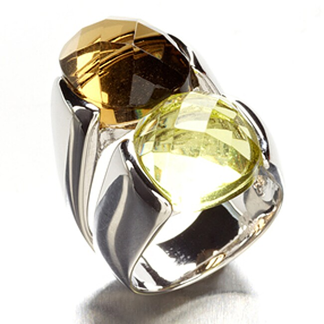 Adee Waiss Rhodium-plated 'Duet' Crystal Ring