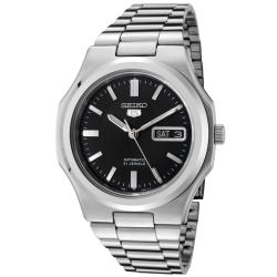 Seiko Men's 'Seiko 5' Black Dial Stainless Steel Automatic Watch