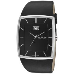 Skagen Men's 567LSLB Black Rectangular Dial Black Leather Watch