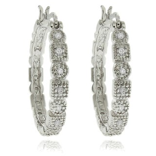 Sterling Silver 1/4ct TDW Diamond Geometric Hoop Earrings (I-J, I2-I3)