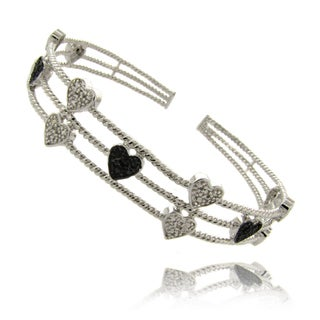 Finesque Sterling Silver 1/4ct TDW Black and White Diamond Heart Bracelet (I-J, I2-I3)