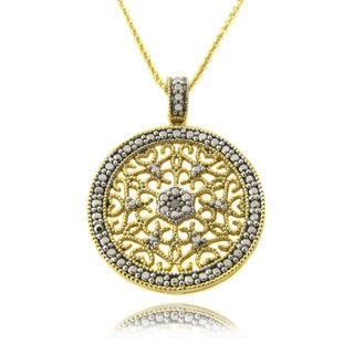 Finesque 14k Gold over Silver Diamond Accent Filigree Medallion Necklace
