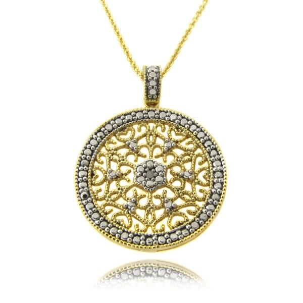 Finesque 14k Gold over Silver Diamond Accent Filigree Medallion Necklace