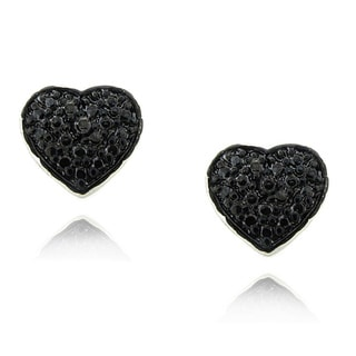 Finesque Sterling Silver 1/4ct TDW Black Diamond Heart Earrings