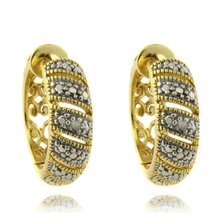 Finesque 14k Gold over Silver Diamond Accent Stripe Hoop Earrings