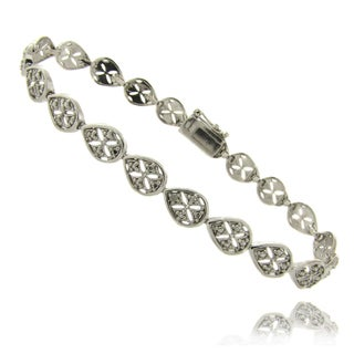 Finesque Sterling Silver Diamond Accent Teardrop Filigree Bracelet