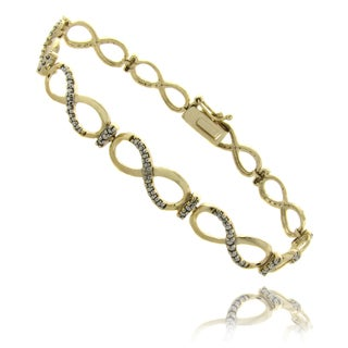 Finesque 14k Gold over Silver Diamond Accent Infinity Link Bracelet