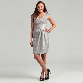 London Times Women's Steel Grey Pleated Dress